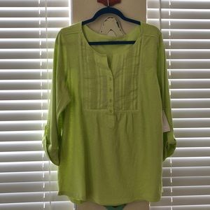 Lime green casual jersey long sleeve top